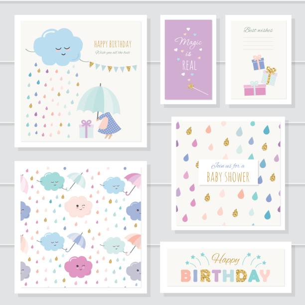 cute cards with gold glitter elements for girls. for baby shower, birthday, babies clothes, notebook cover. included two seamless patterns with rain drops and clouds. watercolor. - baby shower stock illustrations, clip art, cartoons, & icons