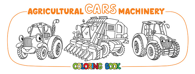 Cute cars coloring book set Agricultural machinery