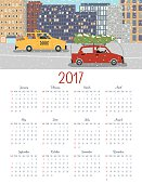 Cute Cars Driving In The City 2017 Calendar Vector. Letter size vertical design.