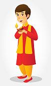 cartoon, india, child, boy, diwali, diya, tradition, isolated