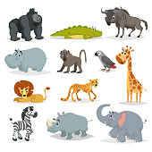 Cute cartoon African animals set. Gorilla ape, crocodile, wildebeest, hippo, baboon, grey parrot, giraffe, lion, cheetah, zebra, rhino and elephant. Jungle, savannah and wildlife vector.