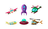 Cute cartoon aircrafts bright colors set, airplane, ufo, helicopter, rocket vector Illustration isolated on a white background.
