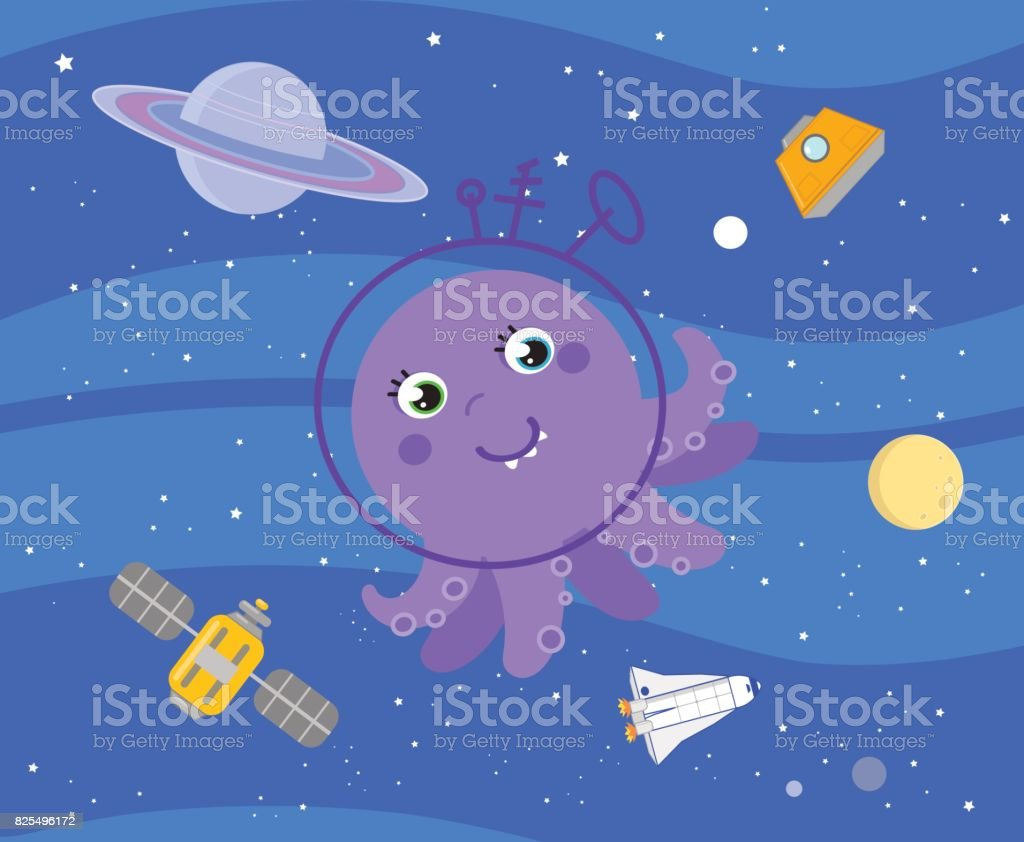 cute cartoon alien in outer space vector stock vector art