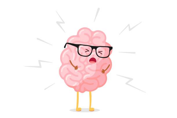 stockillustraties, clipart, cartoons en iconen met cute cartoon boos menselijk brein in stress. het centrale zenuwstelsel orgaan is ziek. platte vector pijnkarakter hoofdpijn illustratie - vermoeidheid