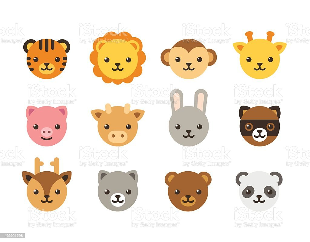 Cute cartoon animal faces vector art illustration