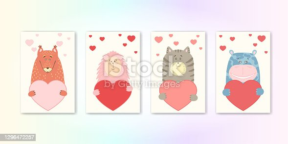 istock Cute cartoon animal holds a heart sign with copy space. set valentine's day greeting card banner invitation flyer brochure. cartoon hand drawn style. Little animals pets in love, declaration of love 1296472257