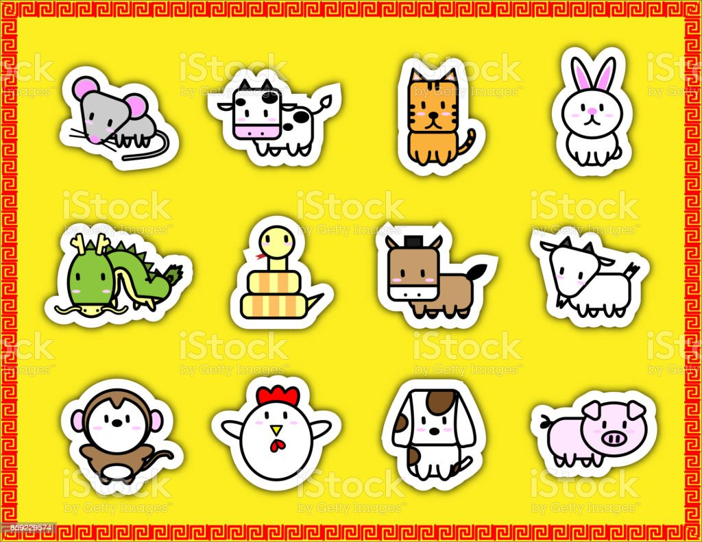 vertical new year border cute cartoon animal sign symbol of chinese zodiac year in sticker icon on yellow background with
