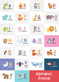 Cute cartoon animals alphabet from A to Z. English alphabet with cute animals vector illustrations set
