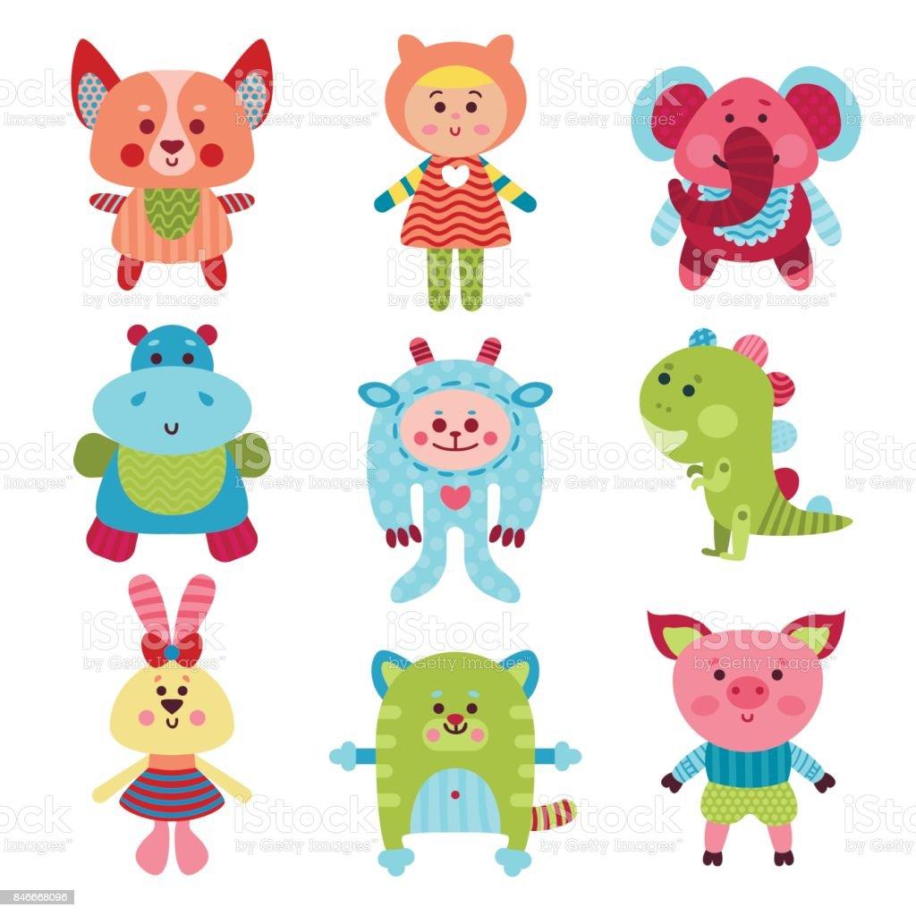 かわいい漫画の動物とカラフルなベクトル イラストの赤ちゃんおもちゃ