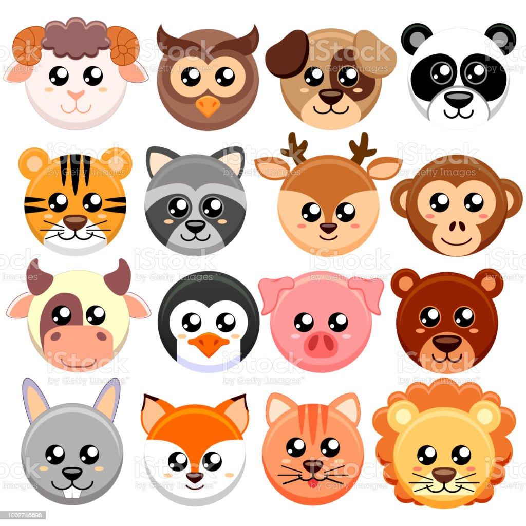 Sevimli çizgi Hayvanlar Kafa şekli Yuvarlak Ayı Kedi Köpek Domuz