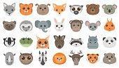 Cute cartoon animals heads set.