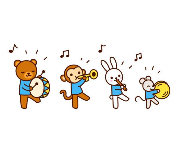 cute cartoon animals playing music - talerz perkusyjny stock illustrations
