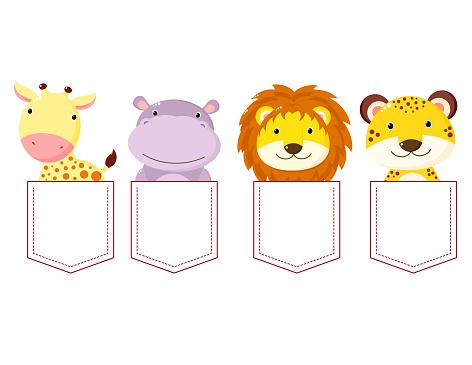 Cute cartoon animals pocket set