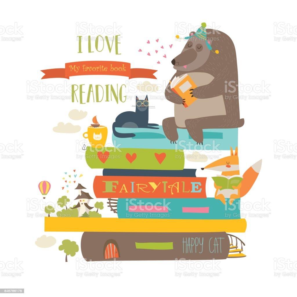 かわいい漫画の動物本を読む - おとぎ話のベクターアート素材や画像を