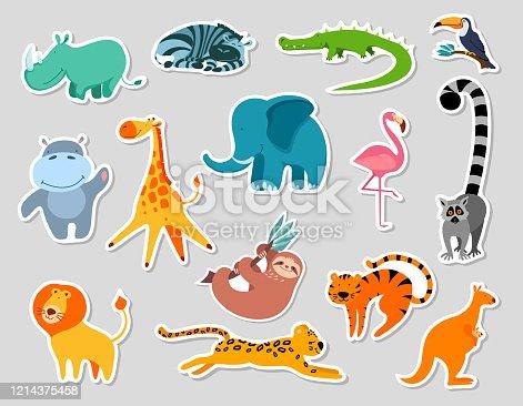 Cute cartoon animals stickers. Set of wild characters. Flat vector illustration.