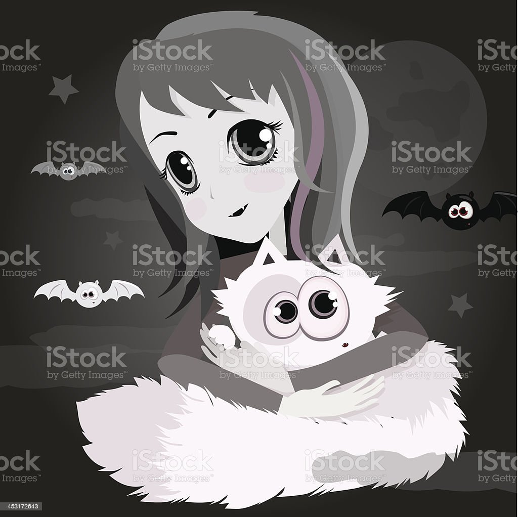 Cute Cartoon Anime Girl With White Cat Stock Vector Art More