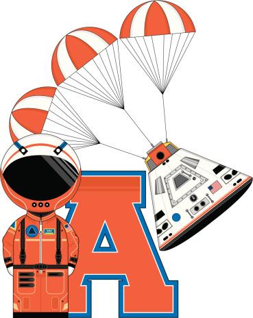 Cute Cartoon Astronaut Learning Letter A