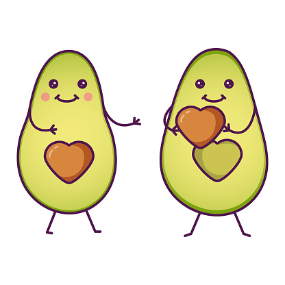 Cute cartoon avocado characters giving a heart. Romantic concept. Valentine's day greeting card.