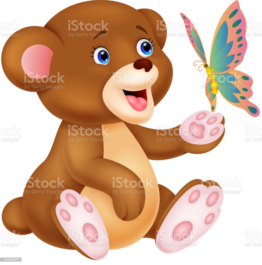 Mignon Dessin Animé Jouant Avec Bébé Ours Papillon Vecteurs