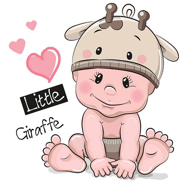 cute cartoon baby boy in a giraffe hat - giraffenkostüm stock-grafiken, -clipart, -cartoons und -symbole