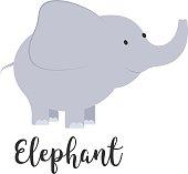 Cute cartoon baby elephant.