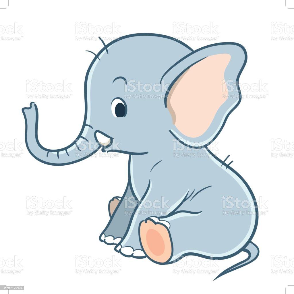 Ilustración de Dibujos Animados Lindo Bebé Elefante y más banco de ...