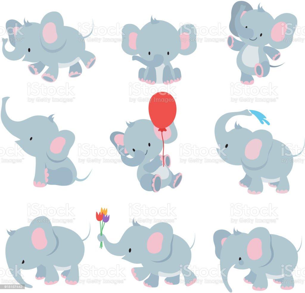 Ilustración De Elefantes Bebé De Dibujos Animados Lindo Animales