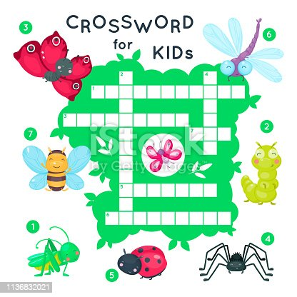 Cute cartoon baby insects crossword for kids.  Puzzle game for children. Butterfly and bug, bee and dragonfly.  Vector  illustration.