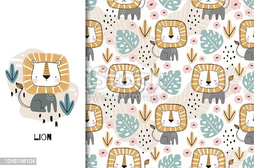 Cute cartoon baby lion icon. Jungle Animal card and seamless pattern. Hand drawn fabric surface design illustration.