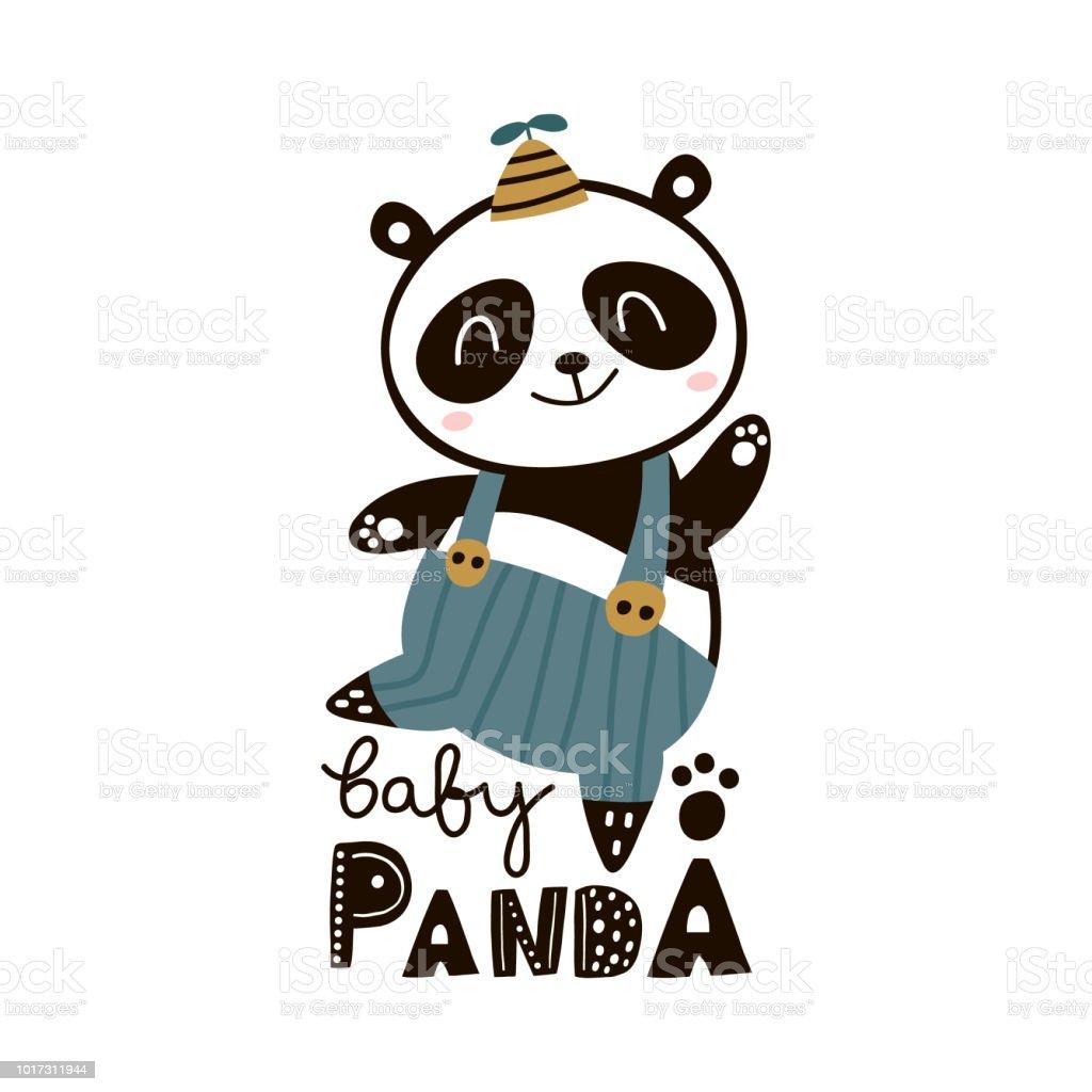 Cute Cartoon Baby Panda Childish Print For Nursery Kids