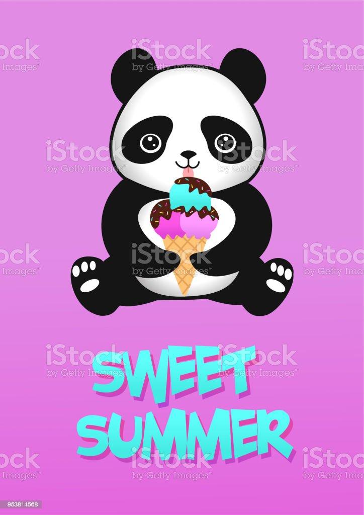 Cute Cartoon Baby Panda With Ice Cream Vector Illustration Stock
