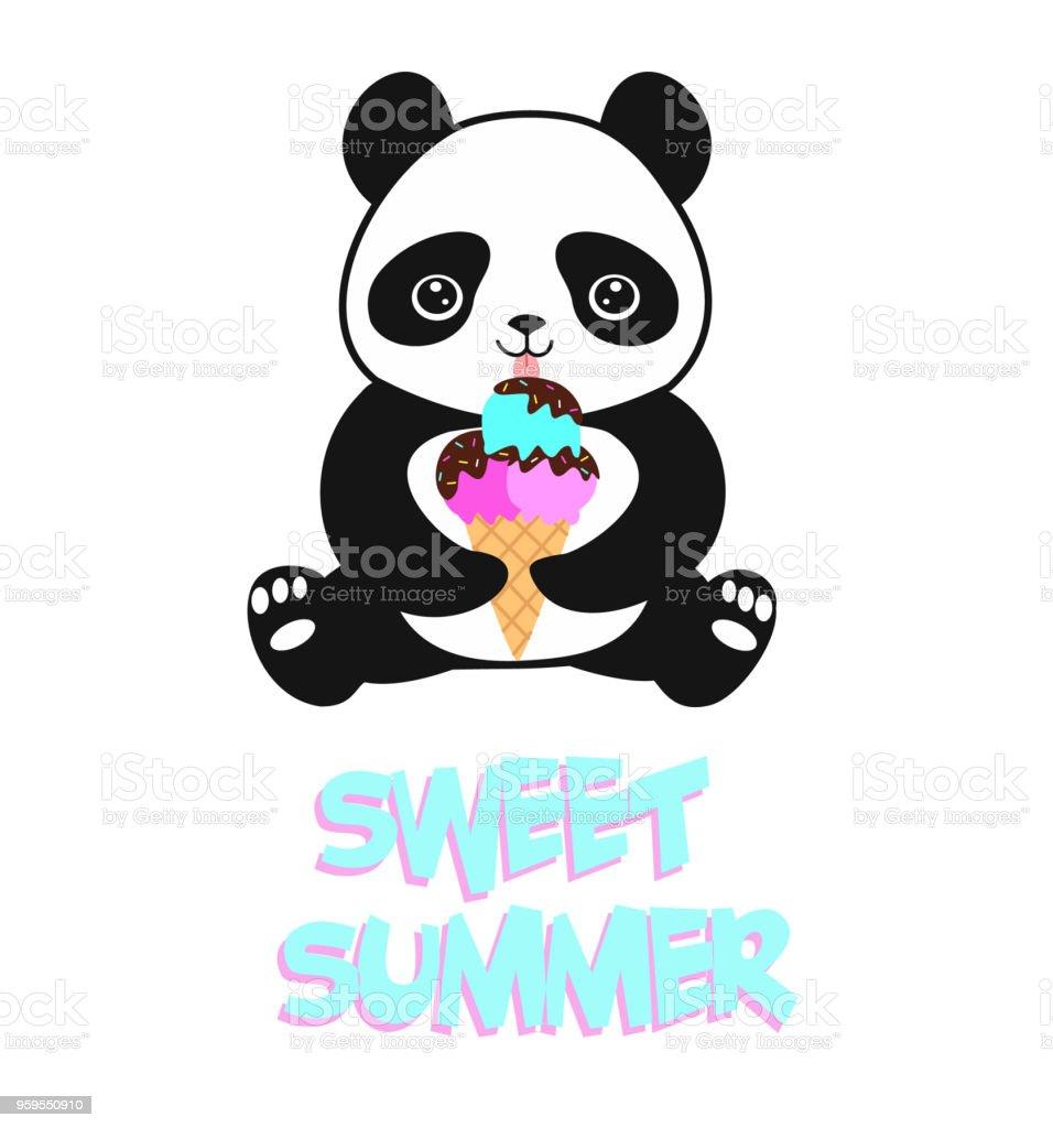 Dessin Animé Mignon Bébé Panda Avec Crème Glacée