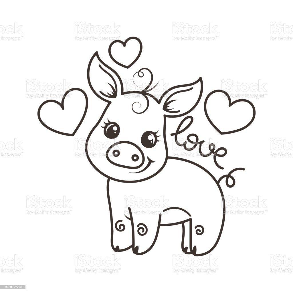 Cute cartoon baby pig in a cool rainbow glasses vector art illustration