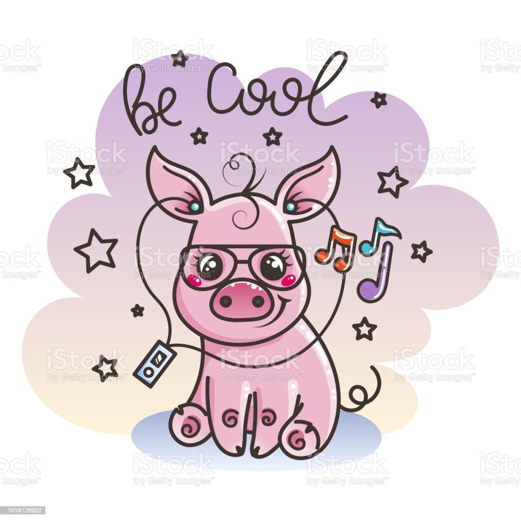 Cute cartoon baby pig in a cool sunglasses vector art illustration