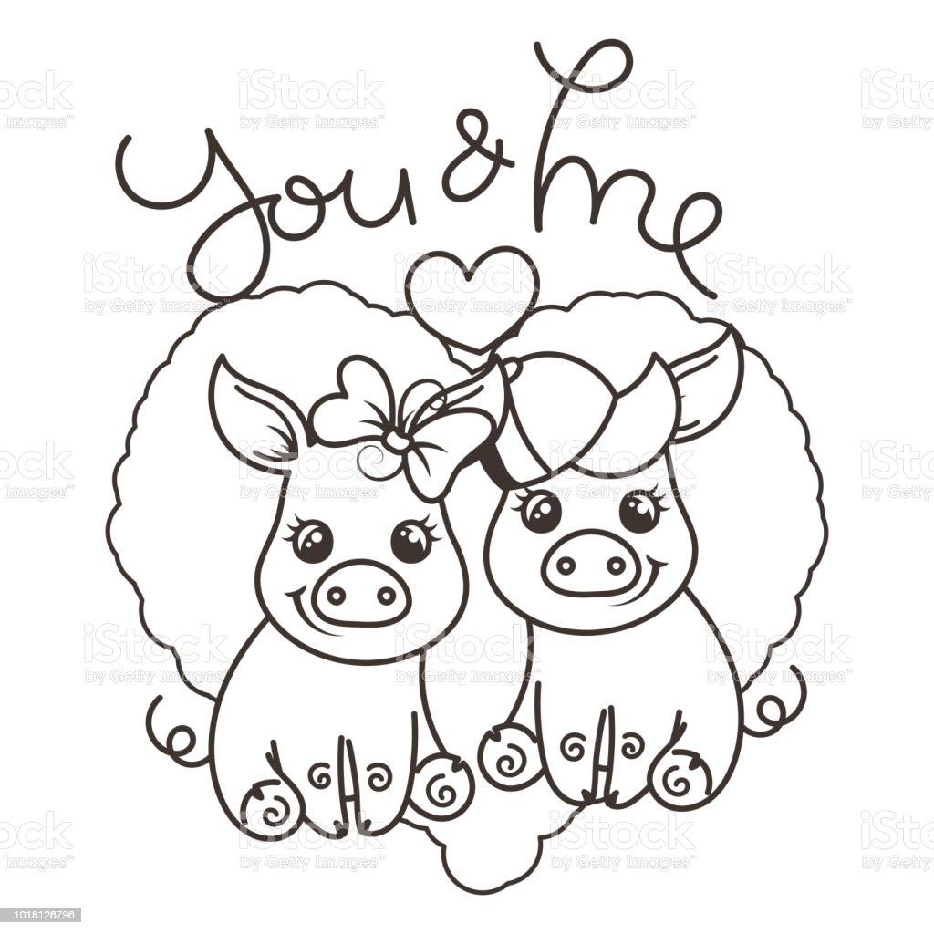 Cute cartoon baby pigs in love vector art illustration