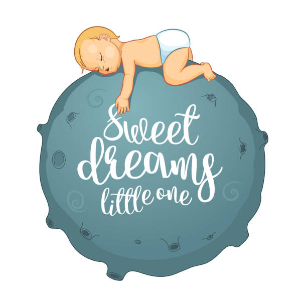 Cute cartoon baby sleeping on the moon. Motivation card. Typography poster. Cartoon character illustration for kids game, book, t-shirt, card, print, poster and decoration. Vector clipart Cute cartoon baby sleeping on the moon. Motivation card. Cartoon character illustration for kids game, book, t-shirt, card, print, poster and decoration. Vector illustration baby sloth stock illustrations
