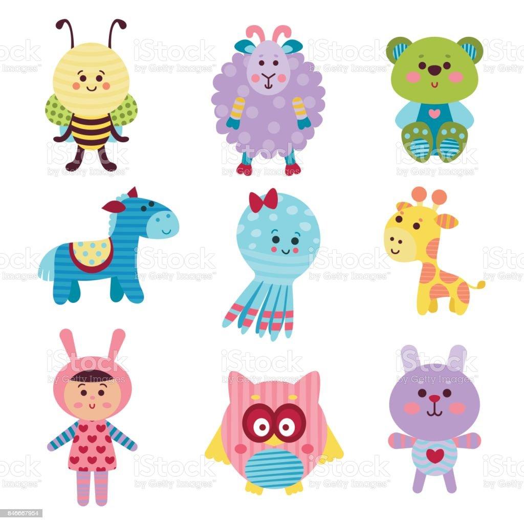 カラフルなベクトル イラストのかわいい漫画赤ちゃん動物やおもちゃ