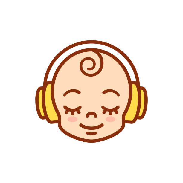 stockillustraties, clipart, cartoons en iconen met schattige cartoon baby met koptelefoon - alleen één jongensbaby