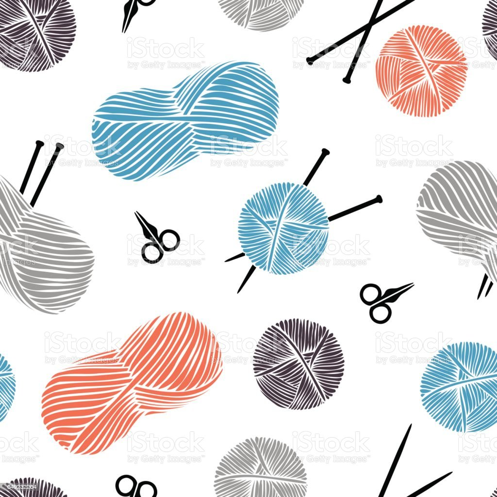 Cute cartoon background. Knitting - vector pattern. vector art illustration