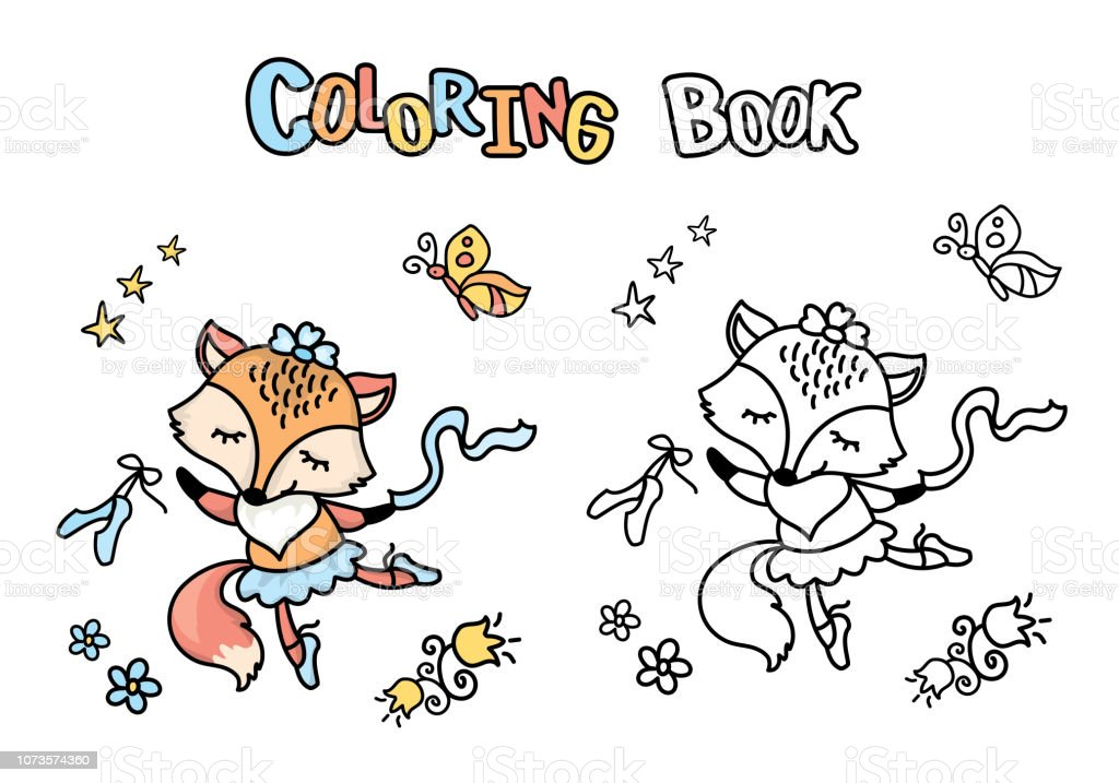 Cute Cartoon Ballet Dancer Foxcoloring Book With Smiling ...