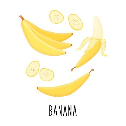 Cute cartoon banana. Banana slices. Drawing for design postcards, print for t-shirts, digital design.