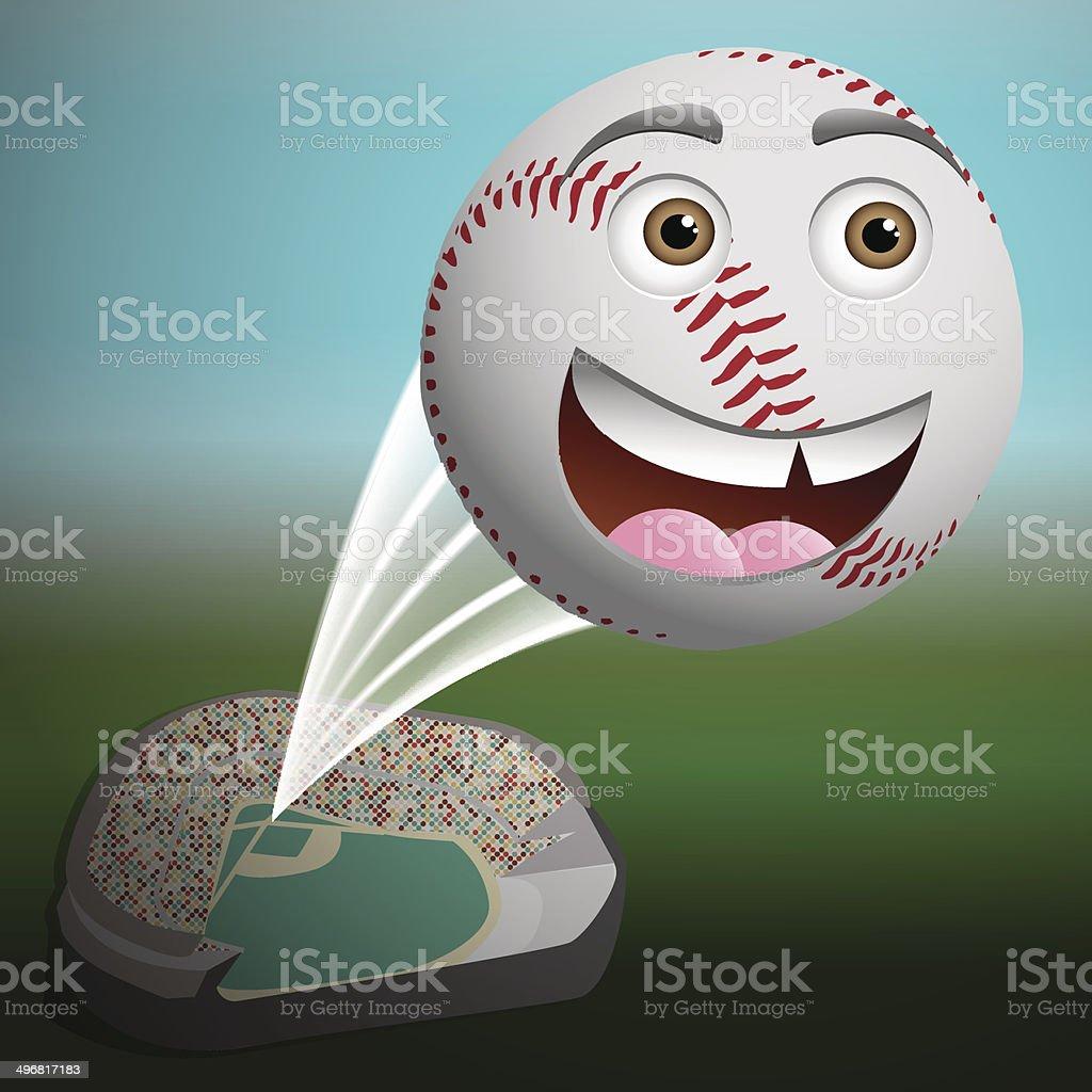 Cute cartoon baseball flying high vector art illustration