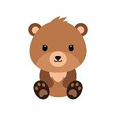 Cute cartoon bear backgrounds. Flat design. Vector Illustration.