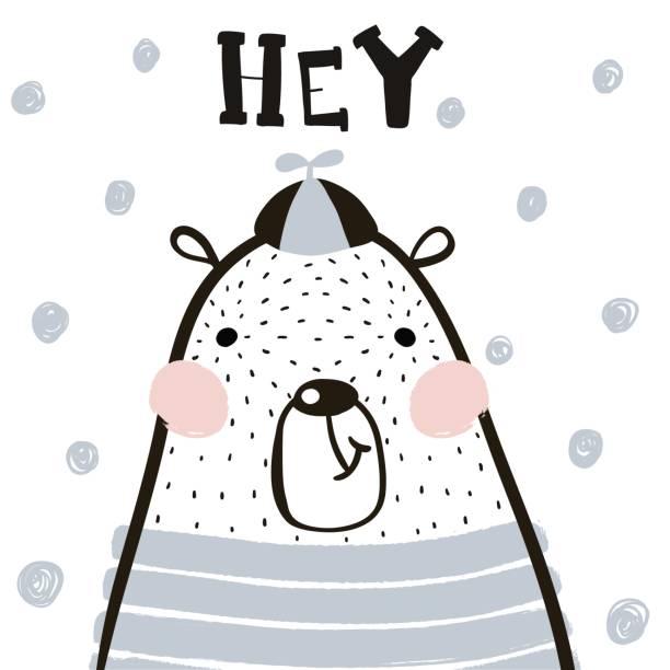 Niño de dibujos animados lindo oso en estilo escandinavo. Impresión infantil para guardería, ropa de niños, cartel, postal. Ilustración de vector - ilustración de arte vectorial