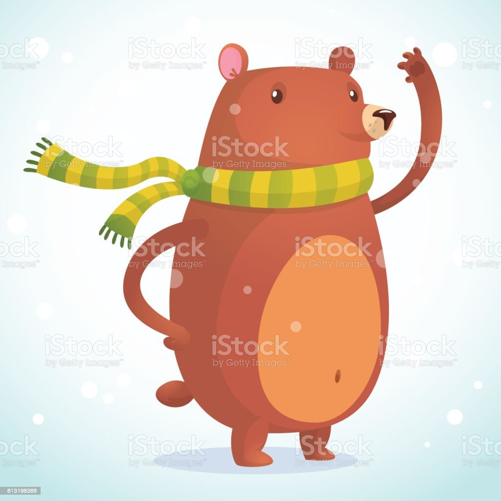 Cute cartoon bear character. Wild forest animal collection. Baby education. Isolated on white background. Flat design. Vector illustration icon of a brown bear vector art illustration