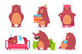 Cute cartoon bear characters vector set.