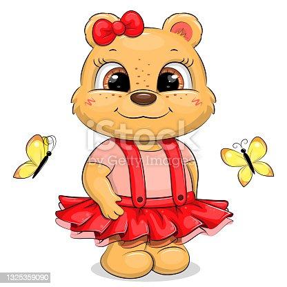 Cute cartoon bear girl in a red skirt.