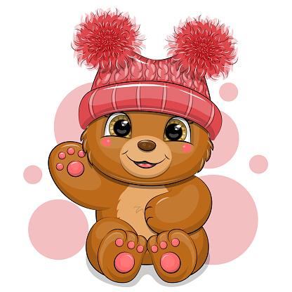 Cute cartoon bear in a red hat.