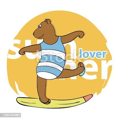 Cute Cartoon Bear in Swimsuit. Summer Time Theme. Vector Illustration.