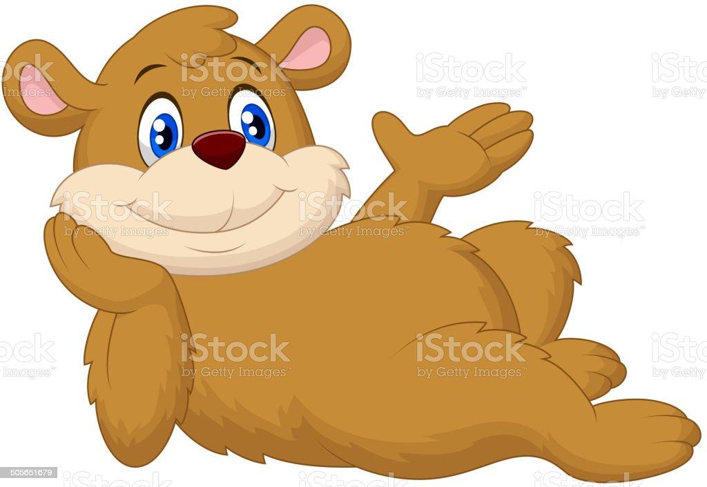 Cute cartoon bear relaxing vector art illustration